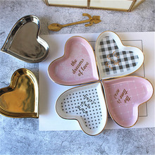Creative Heart Shape Plate Ceramic Snack Dessert Dish Letter Lace Decoration Jewelry Tray Hand-made Gold Edge Storage Plate 1pc(China)