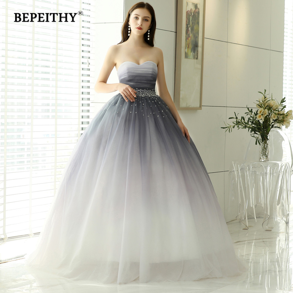 Hot Sale Sweetheart Ball Gown Evening Dress Beads Bodice Gradient Long Prom Formal Dresses 2019 Vestido De Festa gown