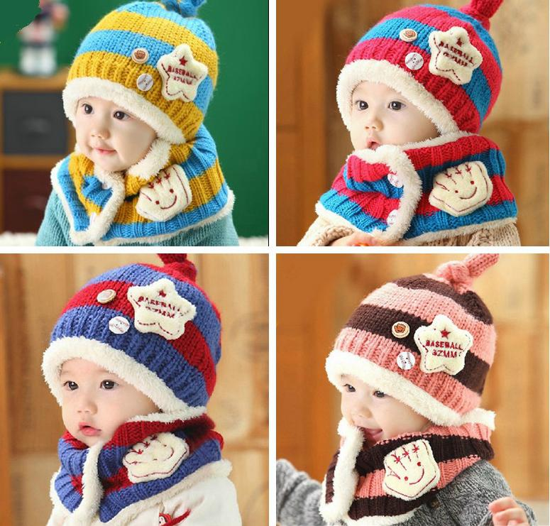 2 Piece/ Set Hot Sale Boy Girl Unisex Autumn Winter Baby Hat+Sarf Set Baby Hats Scarf Children Infant Caps