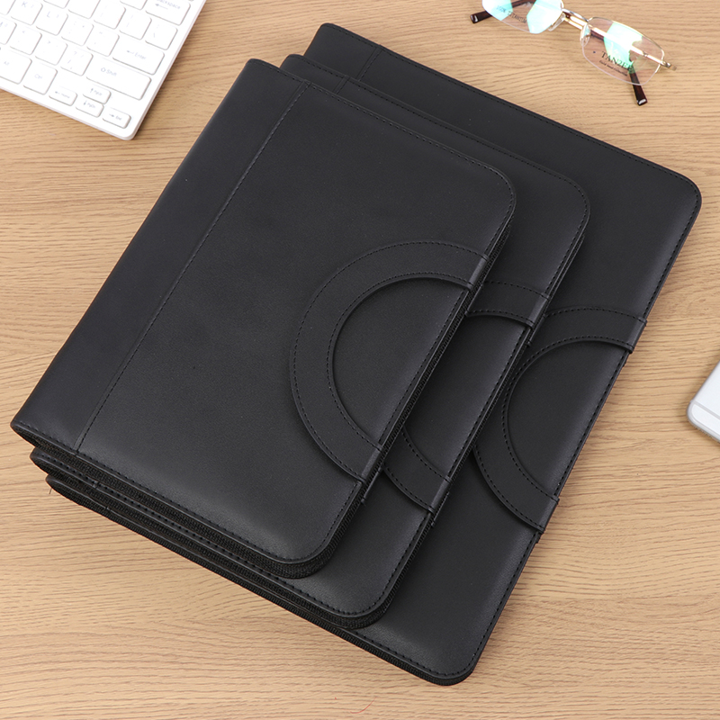 A4 B5 A5 PU Leather Padfolio Business Contract Document Bag Manager Bag With Notebook Calculator Ring Binder Handles 1317B