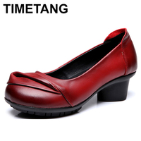 TIMETANG Genuine Leather Women Med Heel Shoes 2017 Spring Autumn Fashion Comfortable Thick Heel Shoes Shallow Soft Female Pumps
