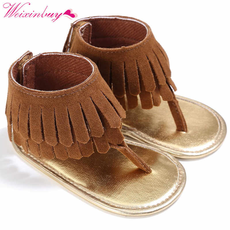 2017  outdoor Tassel Summer casual Baby Soft  soft-soled sandal Child Girls Casual  high quality Kids Shoes  for 0-18M.