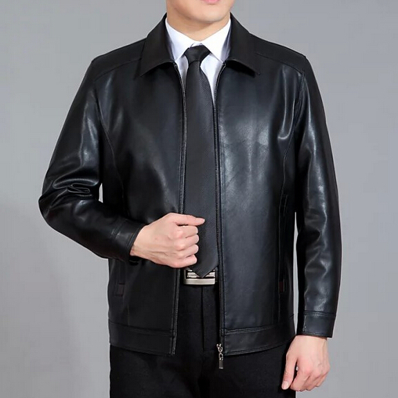 New Spring Men Leather Jacket 2016 Men's Casual Turn-down collar Thin Leather Jacket Men Plus Size M-XXXXL Free Shipping