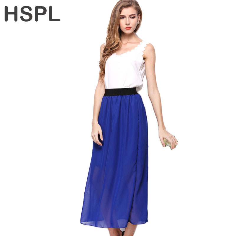 62b2ee730d Hspl falda de gasa completa 2017 alta cintura círculo Faldas para mujeres  tulle Falda plisada negro señora Maxi verano Faldas