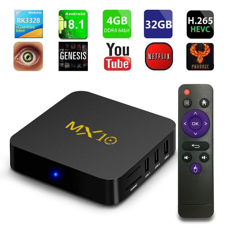MX10 Smart TV BOX Android 8.1 Rockchip DDR4 4GB/32GB IPTV Smart Set Top Box 4K USB 3.0 HDR H.265 Media Player Box PK MXQ T95Q T9