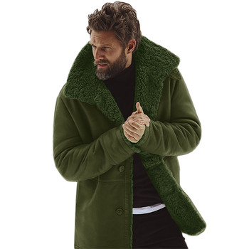 Men's Winter Sheepskin Jacket  Warm Wool Lined Mountain Faux Lamb Conventional Cuff Style  Jackets Coat