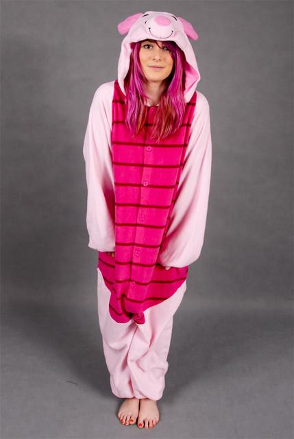 2016 Más Reciente Unisex Fleece Adultos Disfraces de Dibujos Animados Pijamas Conjuntos de Pijamas Todo En Uno Pijama Piglet Cosplay Garment Oneises