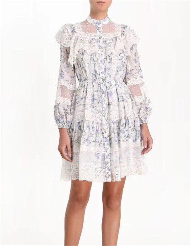 2019 new arrive sweet some lace long sleeve mini dress