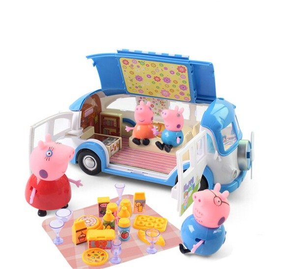 Blemay Pepal Piggy Picnic Car Figures Kids Toys Set TM8851 12pcs set children kids toys gift mini figures toys little pet animal cat dog lps action figures