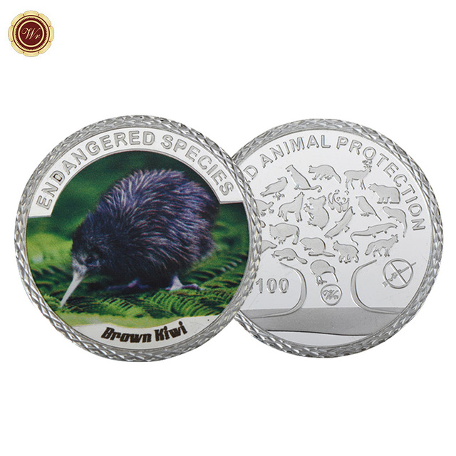 Wr Endangered Species Brown Kiwi Commemorative Coin 100 Dollar 999 9 Silver Plated Metal Coins Worth Collection