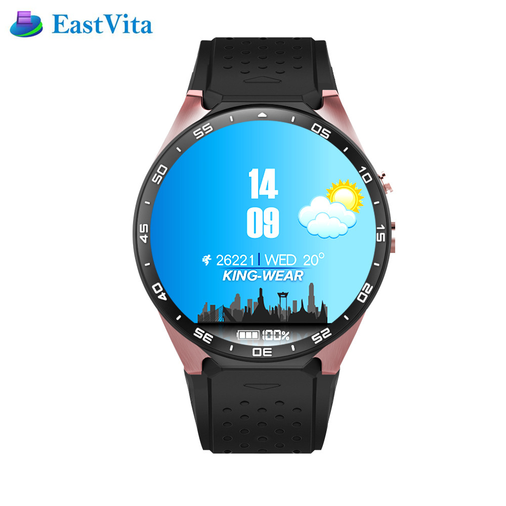 EastVita KW88 Smart Watch GPS 3G wifi Smartwatch MTK6580 Quad Core Smart Wacht Heart Rate Pedometer for Android iOS ZNSB02 no 1 d6 1 63 inch 3g smartwatch phone android 5 1 mtk6580 quad core 1 3ghz 1gb ram gps wifi bluetooth 4 0 heart rate monitoring