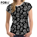 FORUDESIGNS Punk Tshirt Women 3D Cartoon Brand Black t shirt Heavy Metal Streetwear Fashion Women Summer Crop Top Tee Casual