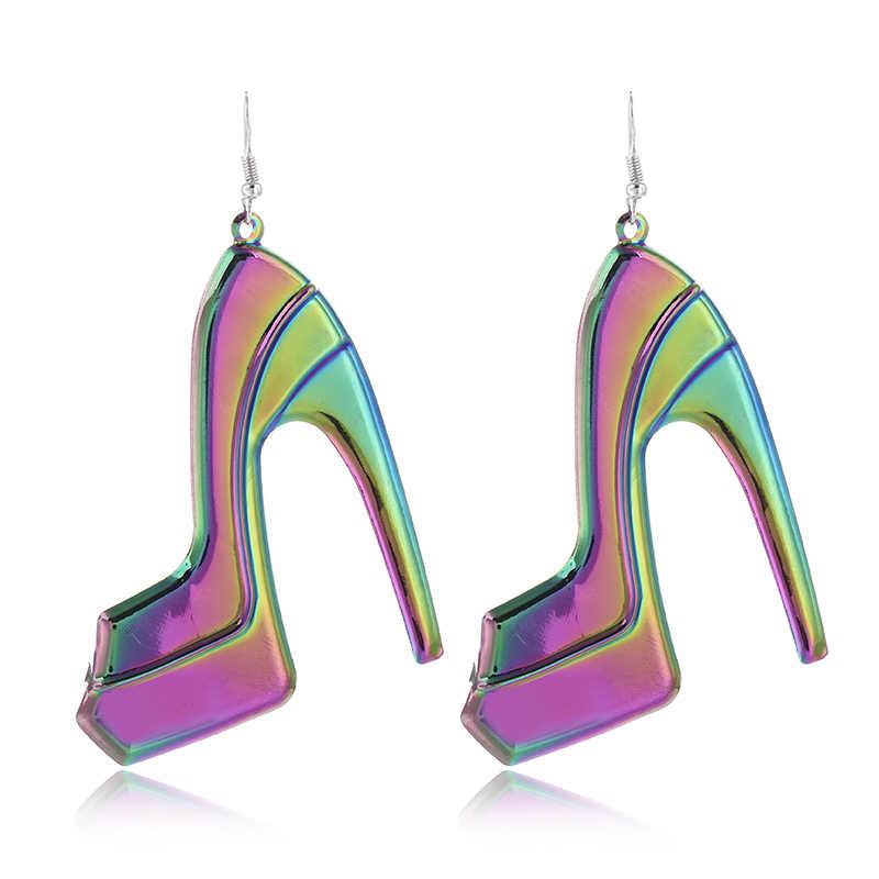 FLDZ nuevo colorido pendiente de Metal para mujer Zapatos de tacón alto con forma de accesorios de moda pendientes colgantes geométricos clásicos