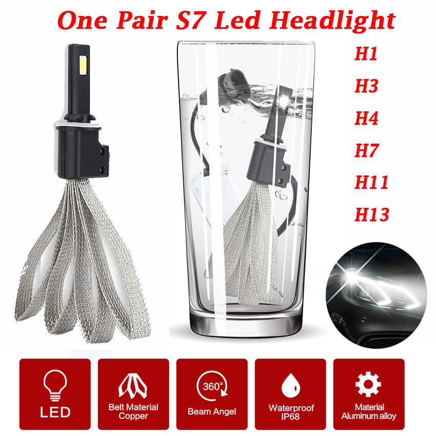 2pcs/ Lot Waterproof S7 LED Car Headlight H1 H4 H7 H11 High Power Fog Lights DRL Daytime Running Lamp Bulb Car Styling high quality h3 led 20w led projector high power white car auto drl daytime running lights headlight fog lamp bulb dc12v