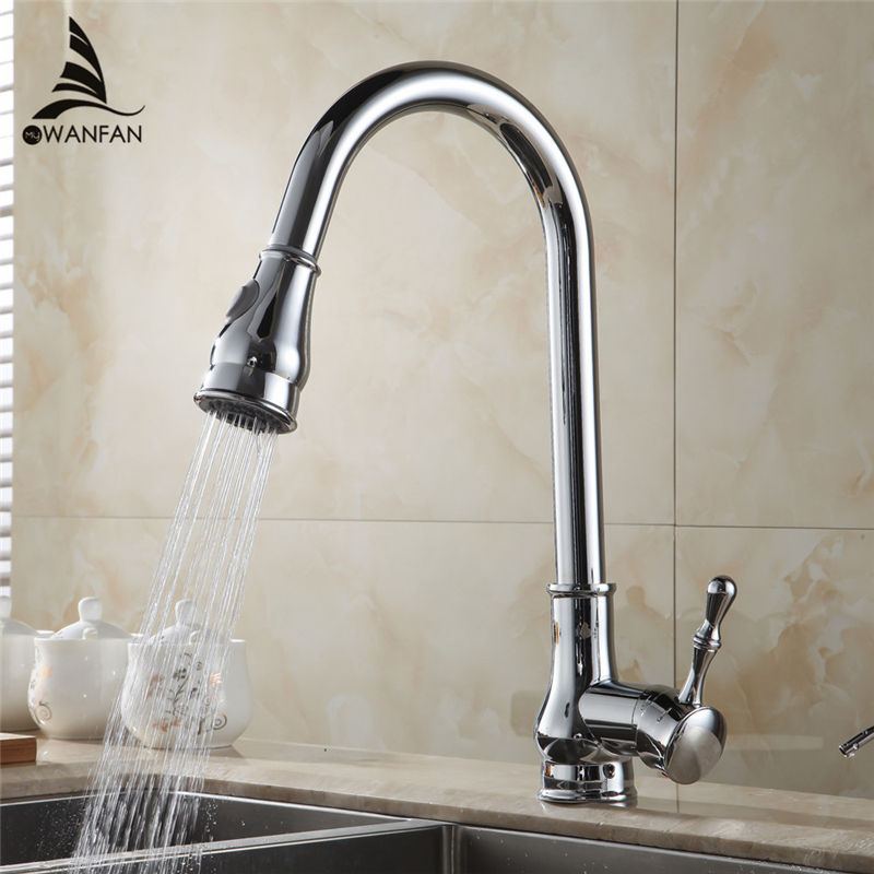 Free Shipping Modern Hot and Cold Device Chrome Finish Swivel Pull Out Kitchen Sink Bathroom Basin Mixer Tap Faucet 7117L kitchen chrome plated brass faucet single handle pull out pull down sink mixer hot and cold tap modern design