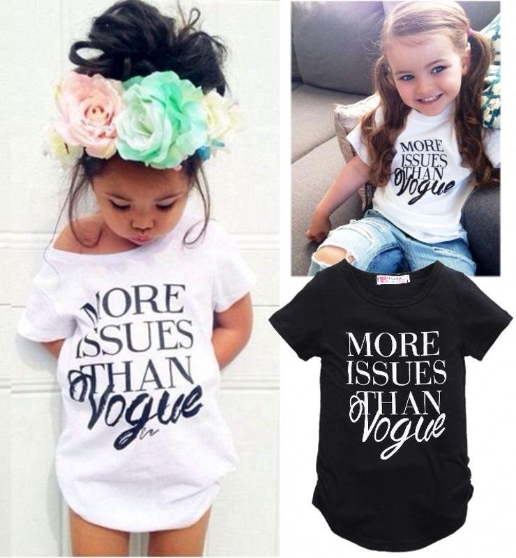 2016 Mode-design Baby Kinder Mädchen Sommer Brief Printing Kurzarm Tops T-shirt Kleidung 2-7 T