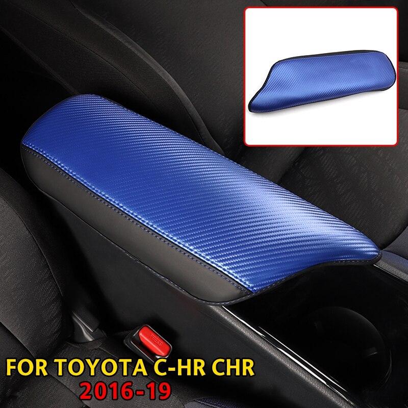 1pcs Carbon Fiber Inner Armrest Box Cover Trim fit for Toyota C-HR CHR 2016-2019