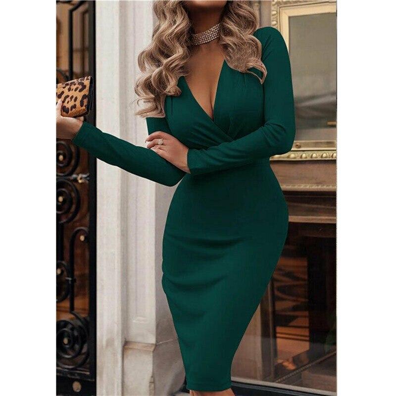2019 Newest Style Fashion Women Spring Summer Long Sleeve Deep V Neck Bandage Bodycon Evening Party Dress Plus Size S XXL