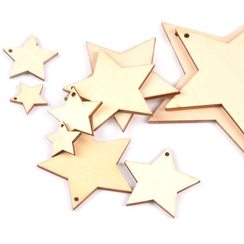 20-100 мм с одним отверстием смешанные звезды деревянный узор рождественские украшения для дома украшения DIY деревянные поделки для рождестве...