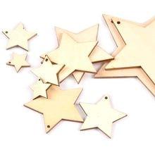 20-100mm um buracos mistura estrela padrão de madeira decorações de natal para casa ornamento diy artesanato de madeira para a festa de natal m2191