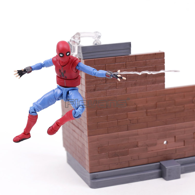SHF S.H.Figuarts Spider-Man: Homecoming Spiderman Home Made Suit Ver. PVC Action Figure Toy Tamarshii Option Act Wall