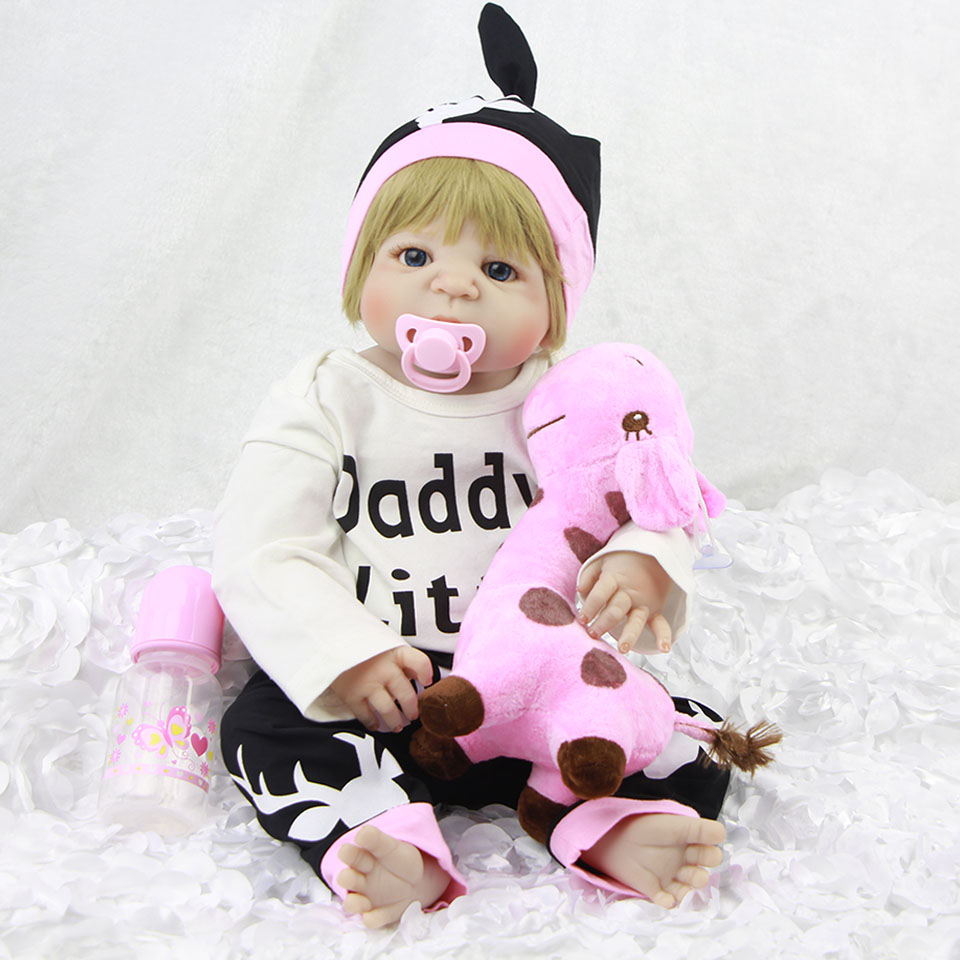 22inch Full Silicone Reborn Girl Baby Doll Toys 55cm Newborn Princess real touch adorable stylish bonecas play house doll toys22inch Full Silicone Reborn Girl Baby Doll Toys 55cm Newborn Princess real touch adorable stylish bonecas play house doll toys