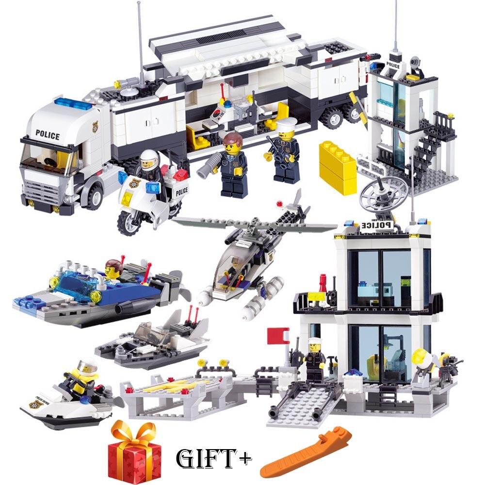 Building Blocks Police Station Prison Figures Compatible With Legoergy City Enlighten Bricks Toys For Children Truck Helicopter