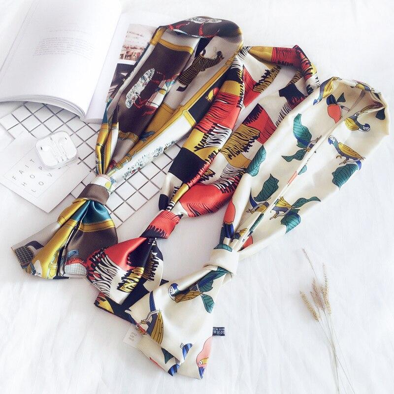 23style New accessories scarf for women silk scarf 2018 fashion elegant satins print Long scarve female thin Ribbon Collar y002