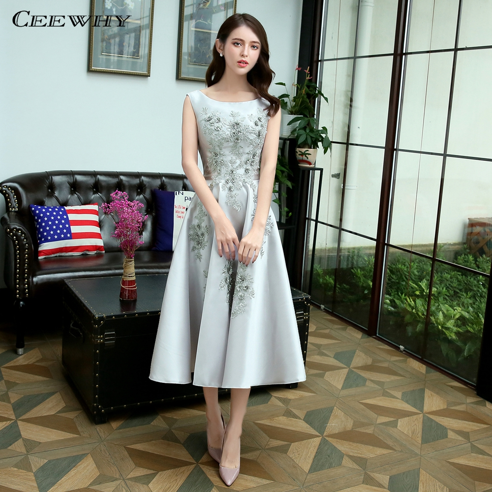 CEEWHY Robe de Soiree Tea-Length   Evening     Dresses   A-Line Embroidery Plus Size Party Elegant   Evening   Gowns Formal Prom   Dress