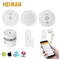 HEIMAN Zigbee Smart Home Kit Gateway Door Window Human Body Sensor Water leak Sensor Smoke Detector and Gas Detector Home 6 set