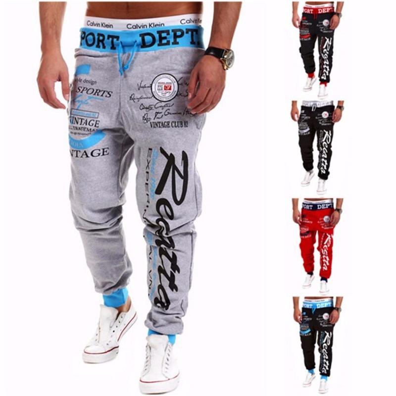 Pantalones 2018 Venta caliente Baggy Mens impresión de la letra Baggy Harem Cool pantalones largos Joggers Wear Plus Size M-XXXL cordón