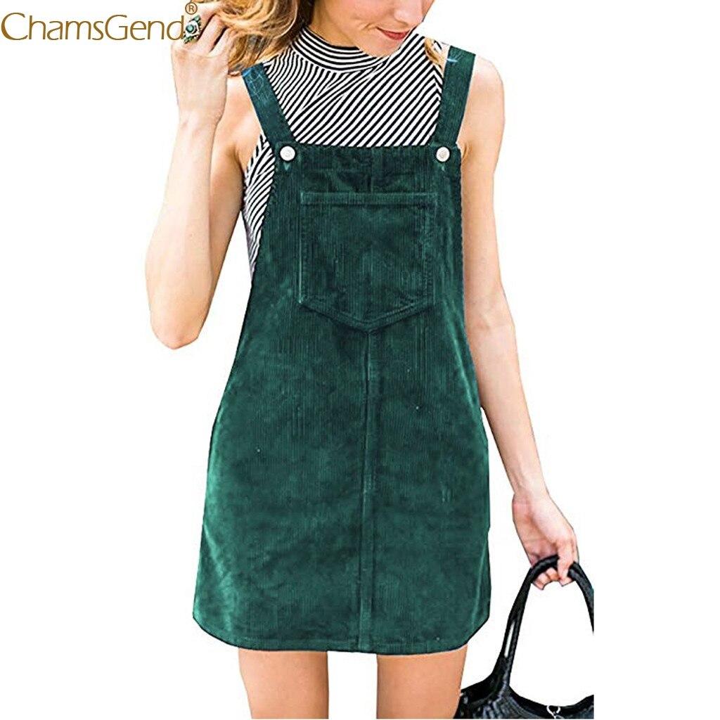 Fashion dress women 2019  Corduroy Straight Suspender Mini Bib Overall dress women summer Casual Pocket dresses Sleeveless Feb6