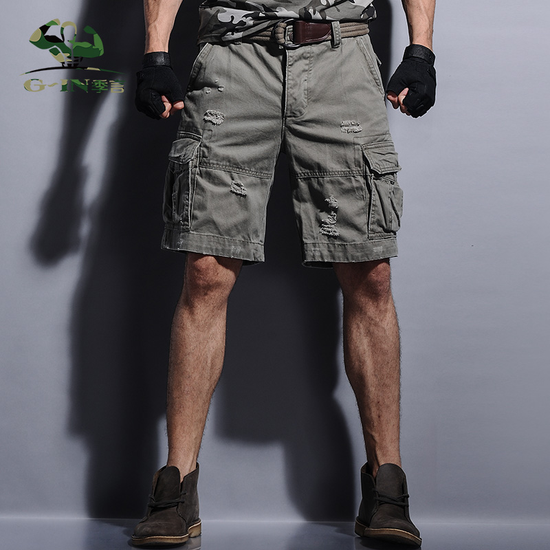 2016 Summer Men's Army Cargo Work Casual Bermuda Men Fashion Overall Trousers Plus size Masculina Beach Man Short