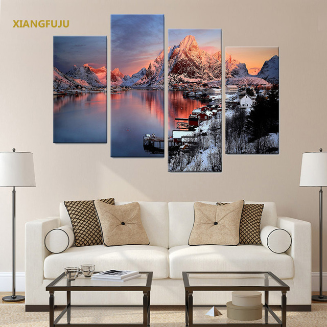 4pcsset Waterproof Multi Picture Combination Hanging Unframed
