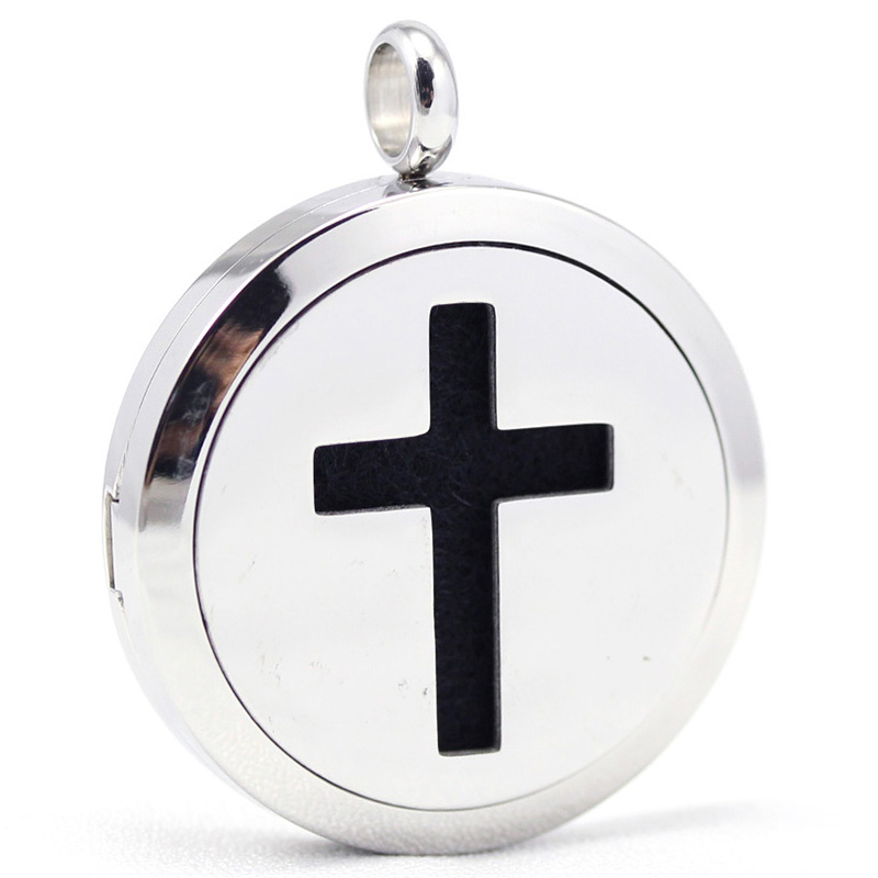 30mm stainless steel cross design aroma aromatherapy essential oil diffuser pendant necklace