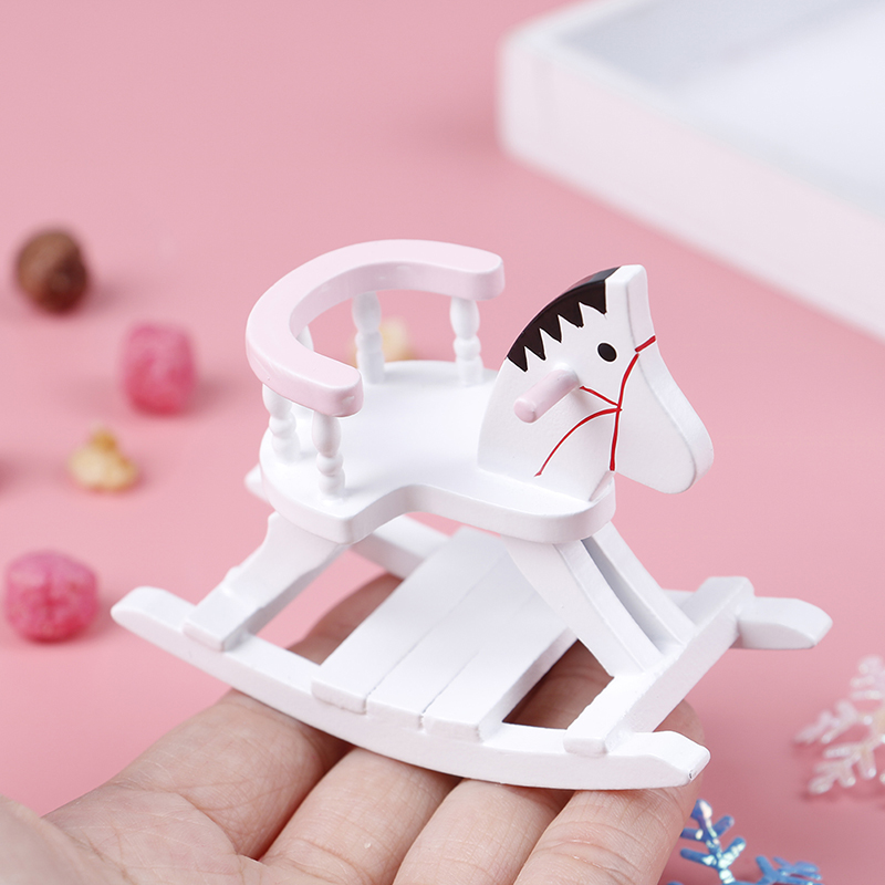 Dollhouse Miniature Nursery Room Furniture 1:12 Doll House Accessories  White Wooden Rocking Horse Chair Toys For Children