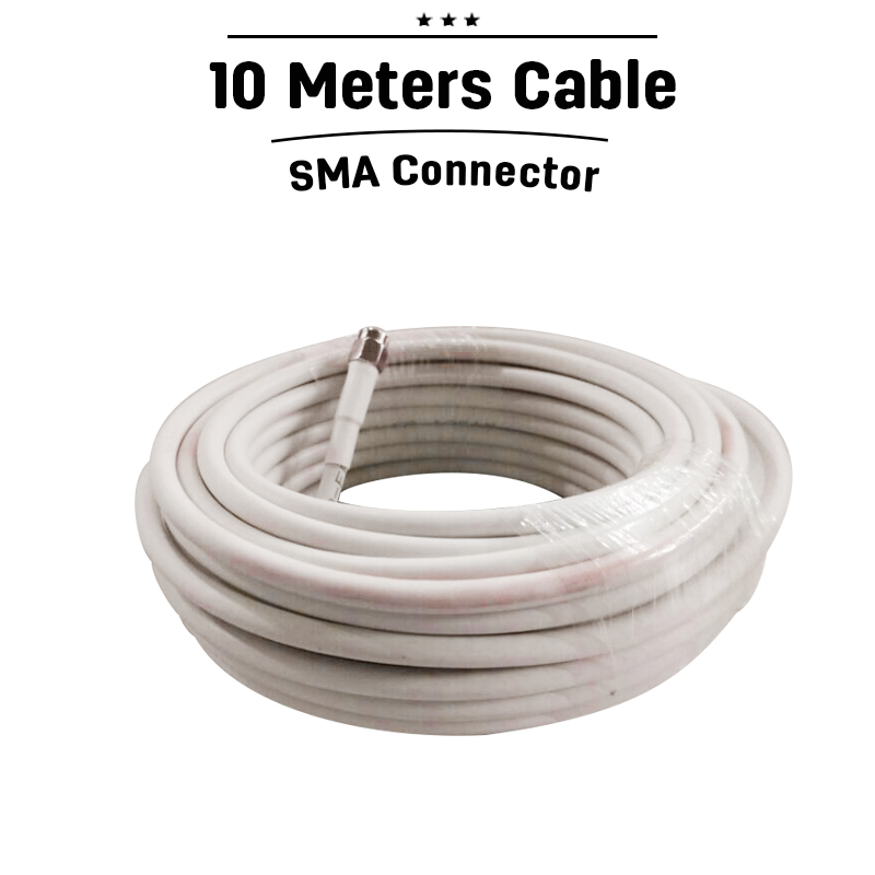 SMA 10M White Cable For Signal Booster Repeater With SMA Male To SMA Female Connector For KW13A-GSM KW16L-GSM-S KW16L-WCDMA-S 35