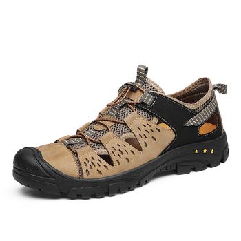 Hole buty męskie buty męskie krowy sandały z prawdziwej skóry letnie Sandalias Hombre pantofle drewniaki sandały nowe 2019 męskie buty tanie i dobre opinie UTEPILS Skóra bydlęca Podstawowe NONE Moda RUBBER Gumką Mieszkanie (≤1cm) latex Pasuje prawda na wymiar weź swój normalny rozmiar