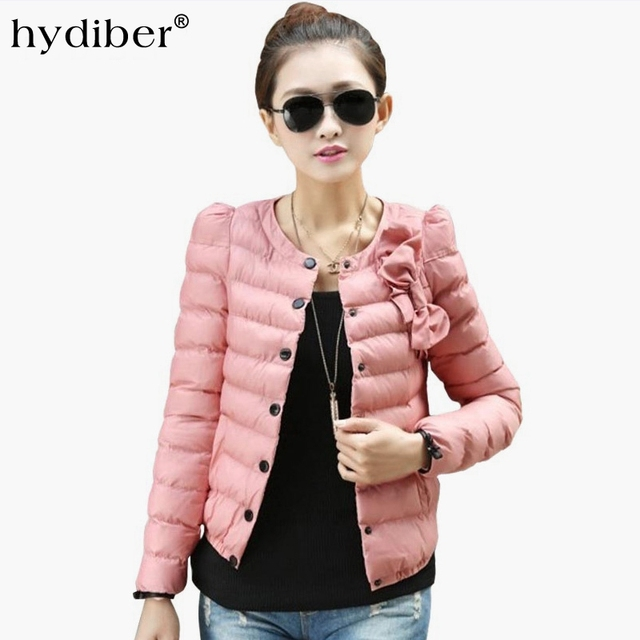 2017 New Fashion Winter Bowknot Pink Women Short Parka Ladies Spring Autumn outwear Female Clothing Cotton Padded Girls Tops XL