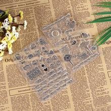 5pcs Animal Smiley Cartoon Silicone Stamp Transparent / Template Scrapbook Album Decoration Stationery Set
