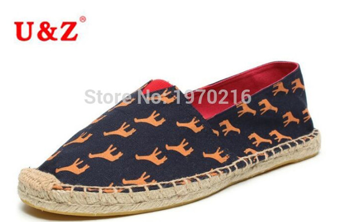 ФОТО Newest Men Canvas Espadrilles Shoes Dark Blue Fawn pattern Flats,100% Cotton Breathable Plus Big size US11 Loafers Sale