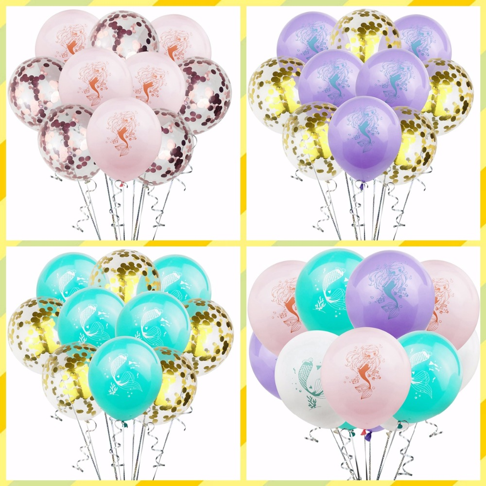 Taoup Little Mermaid Balloons Latex Confetti Ballons Oceanic Happy Mermaid Theme Birthday Decors for Girls Little Party Supplies in Ballons Accessories from Home Garden