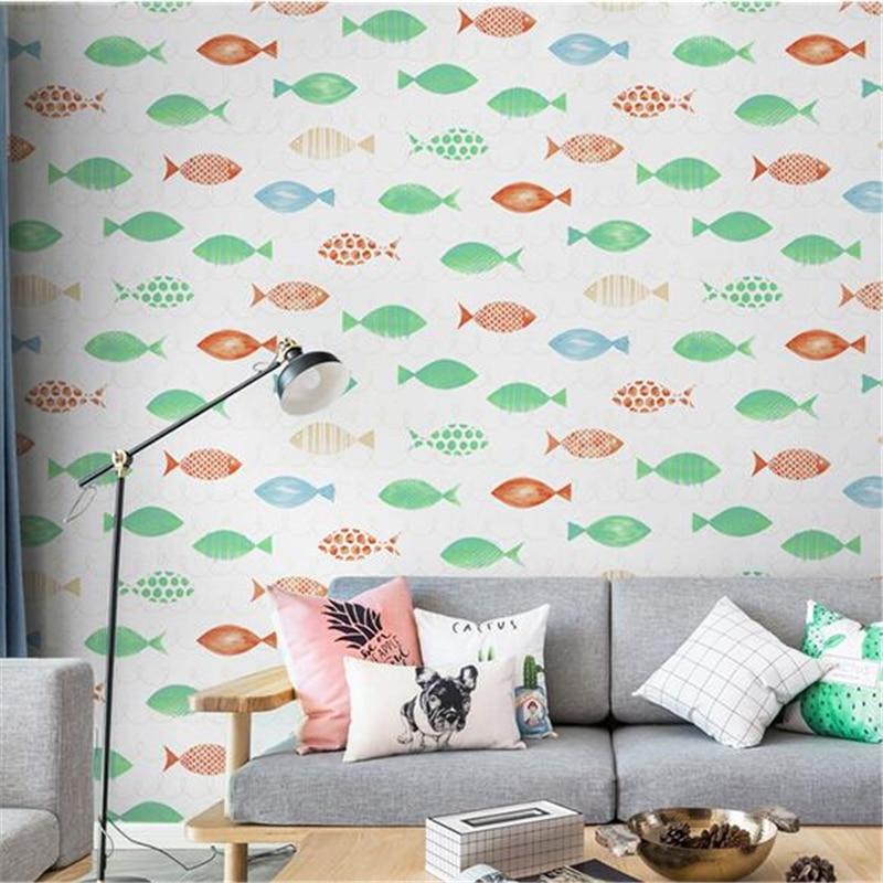 Beibehang papier peint de parede style nordique bleu dessin animé poisson chambre d'enfants papier peint garçon fille fille princesse chambre papier peint