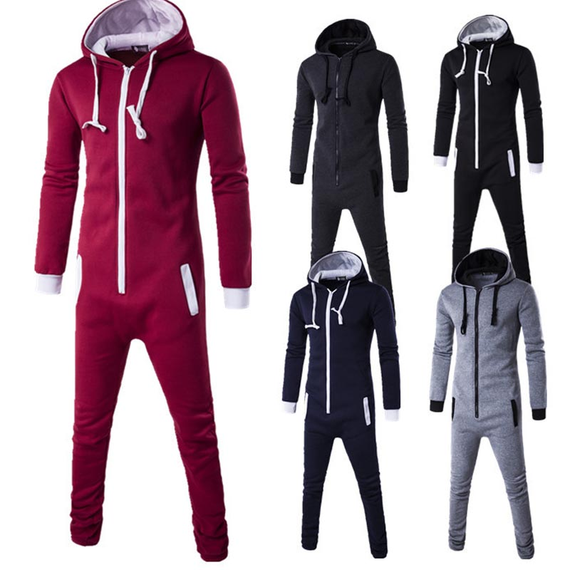 Men Romper Sport Suit One-piece Tracksuit Men Zip Hoodie Sweatshirt Winter Warm Sweatsuit Joggers Sporting Union Suit Streetwear