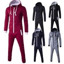 men romper sport suit one-piece tracksuit zip hoodie sweatshirt winter warm sweatsuit joggers sporting union streetwear