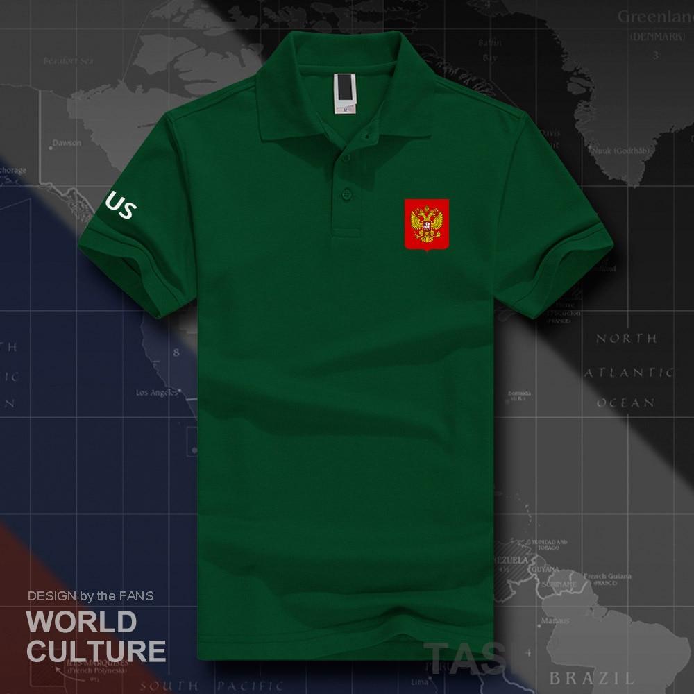 Fédération de russie RUS polo chemises hommes manches courtes blanc marques imprimé pour pays 2018 coton nation emblème nouvelle mode