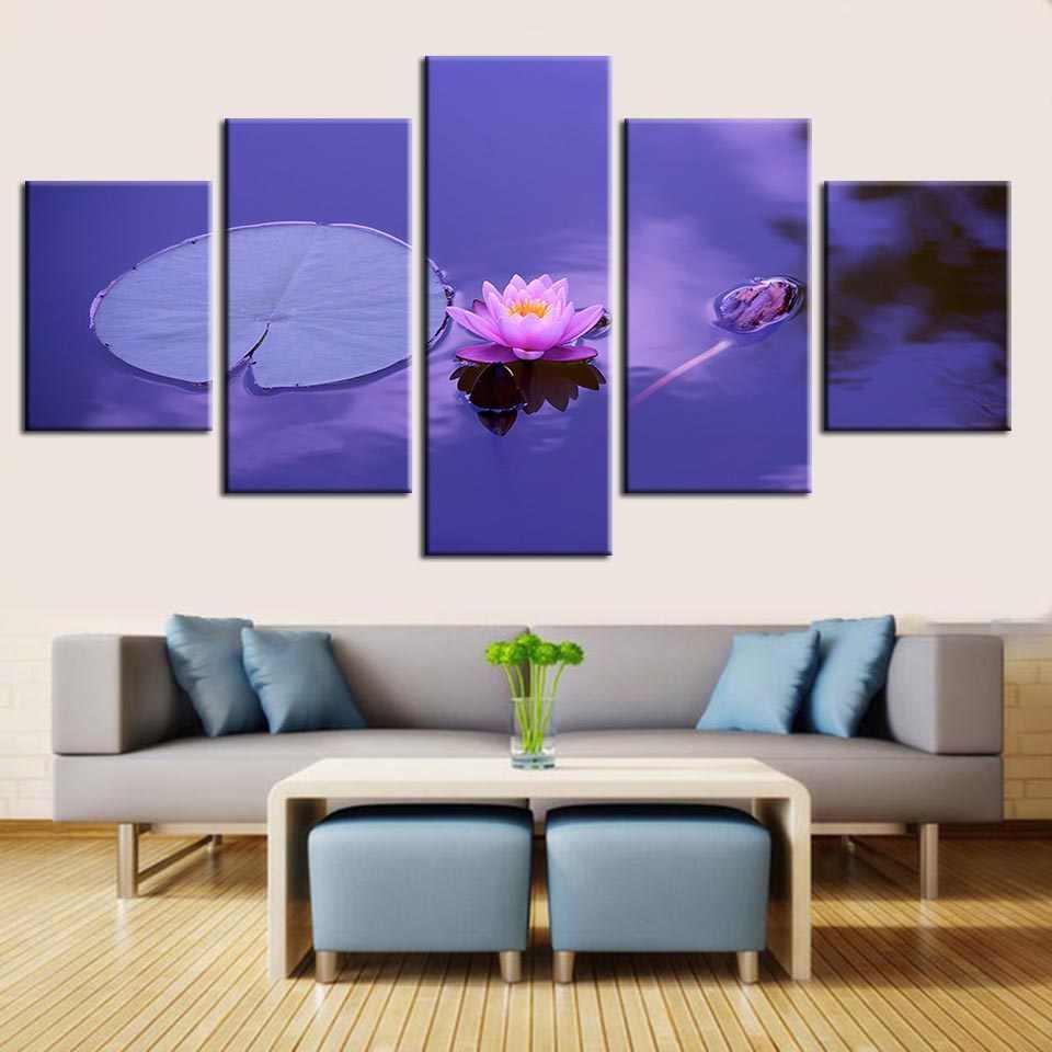 Pared Arte Impresión Cartel Modular 5 Set Lotus Flor Hogar Decoración Fondo Cuadro Marco Acuarela Sala De Estar Regalo Lienzo Pintura