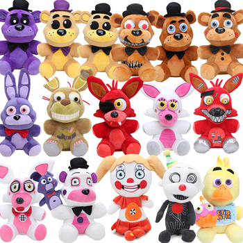 25cm Freddy Fazbear Plush Toys Golden Bear Nightmare Cupcake Foxy Balloon Boy Clown Stuffed Dolls 1