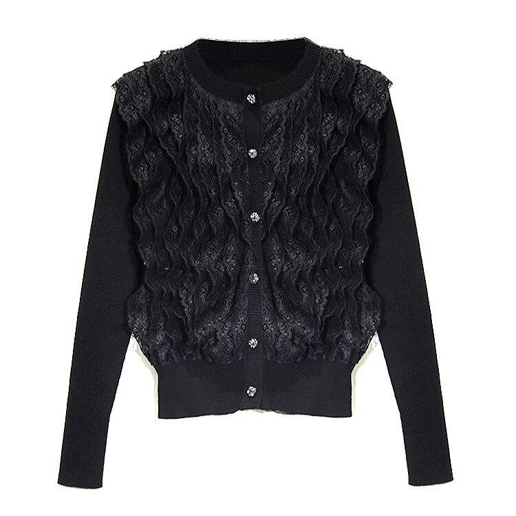 Pardessus Du Printemps Dames 2019 Couture Mode À Noir Tricoté Au De Chandail Sweat Début Dentelle Européenne Mince Blanc Capuche Nouveau OFqxvwp5E