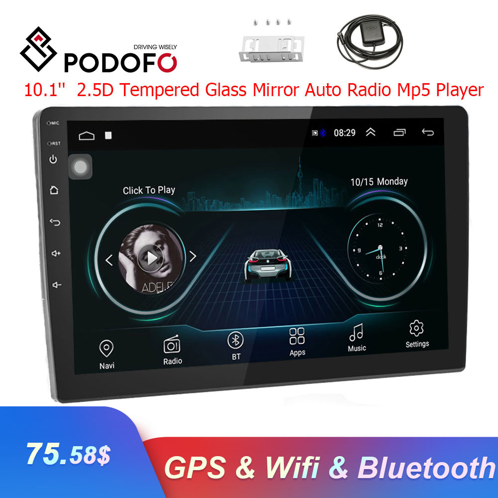 Podofo 10.1 ''Android Car Radio di Navigazione GPS Autoradio Lettore DVD di Multimedia Bluetooth WIFI Specchio Link 2 Din Car Audio stereo